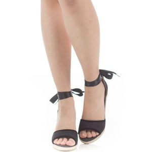 Women's Open Toe Ankle Wrap Lace up Wedge
